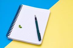 De hoogste mening over een leeg notitieboekje met penvlakte lag Stock Afbeeldingen