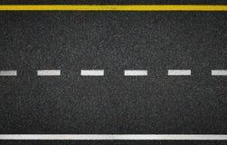 De hoogste mening van de asfaltweg De tekens van de weglijn Royalty-vrije Stock Fotografie