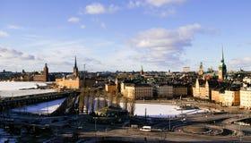 De hoogste mening van de winter van Gamla Stan in Stockholm, Sw Royalty-vrije Stock Foto's