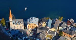 De hoogste mening van Hallstatt en het meer Hallstater zien, Oostenrijk Royalty-vrije Stock Foto