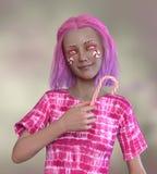 De hoogste mening van mooie jonge vrouw met suikergoed behandelde haar ogen houdend een lolly terwijl het liggen op suikergoed Royalty-vrije Stock Foto