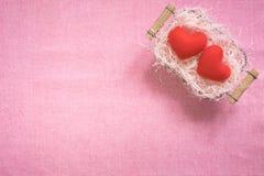 De hoogste mening van vlakte legt model met romantische Romantische decoratie, S Stock Foto