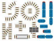 De hoogste sporen van de meningsspoorweg en de spoorweg vervoeren - treinen, vervoer en auto stock illustratie