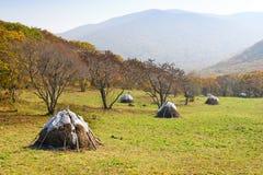 De hooiberg van de herfst stock fotografie