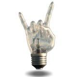 De hoornengebaar van het rotsn broodje lightbulb Royalty-vrije Stock Foto