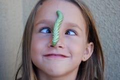 De hoornworm van de tabak op neus royalty-vrije stock fotografie