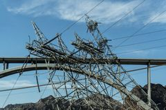 De Hooverdam levert macht aan Las Vegas en omringende provincies stock foto