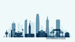 De horizon die van San Francisco vectorillustratie bouwen Royalty-vrije Stock Afbeeldingen