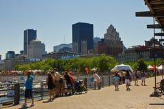 De horizon en de haven van Montreal. stock fotografie