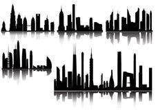 Stadshorizon en Silhouetten Royalty-vrije Stock Afbeelding
