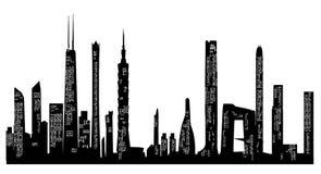 Stadshorizon en Silhouetten Stock Afbeelding