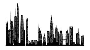 Stadshorizon en Silhouetten Stock Afbeeldingen