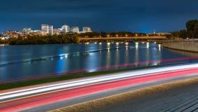 De Horizon en het verkeer van Rosslyn in Washington DC stock afbeeldingen