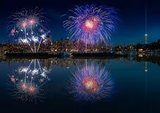 De horizon en het vuurwerk van Seattle Stock Afbeeldingen