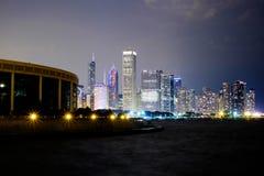 De horizon en Meer Michigan van Chicago bij nacht Royalty-vrije Stock Fotografie