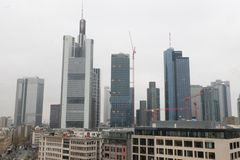 De Horizon Globaal Financieel District van Frankfurt stock foto