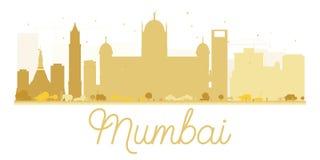 De horizon gouden silhouet van de Mumbaistad royalty-vrije illustratie
