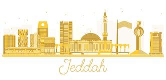 De horizon gouden silhouet van de Jeddahstad Royalty-vrije Stock Afbeelding