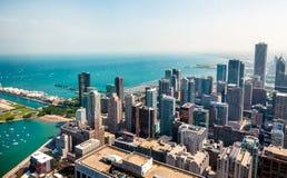 De Horizon hoogste mening van Chicago met wolkenkrabbers in Michigan lakefront, de V.S. royalty-vrije stock foto