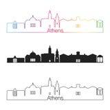 De horizon lineaire stijl van Athene GA met regenboog stock illustratie