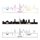 De horizon lineaire stijl van Berlijn V2 met regenboog stock illustratie