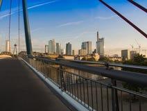 De horizon ogf Frankfurt, Duitsland, in de ochtend Royalty-vrije Stock Afbeeldingen