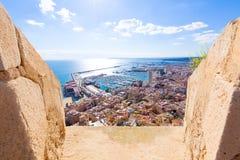 De horizon Santa Barbara Castle Spain van Alicante stock afbeeldingen