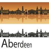 De horizon van Aberdeen op oranje achtergrond Stock Afbeelding