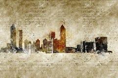 De horizon van Atlanta in moderne en abstracte wijnoogst ziet eruit Stock Afbeelding
