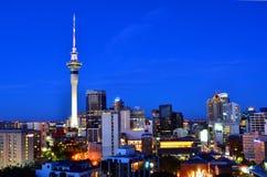 De horizon van Auckland Nieuw Zeeland bij avond Stock Fotografie