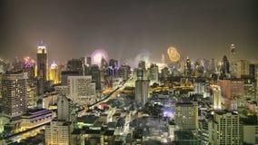 De Horizon van Bangkok bij nacht timelapse in HDR stock videobeelden