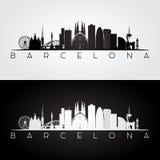 De horizon van Barcelona en oriëntatiepuntensilhouet Royalty-vrije Stock Afbeeldingen