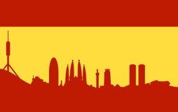 De horizon van Barcelona op Spaanse vlag Stock Afbeelding