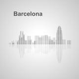 De horizon van Barcelona voor uw ontwerp Stock Afbeelding