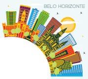 De Horizon van Belo Horizonte Brazilië met Kleurengebouwen, Blauwe Hemel en royalty-vrije illustratie