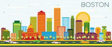 De Horizon van Boston met Kleurengebouwen en Blauwe Hemel stock illustratie