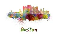 De horizon van Boston in waterverf royalty-vrije illustratie