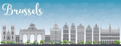 De horizon van Brussel met de grijze bouw en blauwe hemel royalty-vrije illustratie