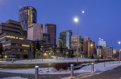 De horizon van Calgary ` s bij zonsopgang Royalty-vrije Stock Foto's