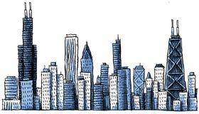 De Horizon van Chicago van het beeldverhaal royalty-vrije stock fotografie