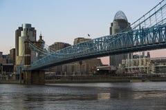De Horizon van Cincinnati als Zonsondergangbenaderingen stock afbeeldingen