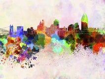 De horizon van Cincinnati op waterverfachtergrond Royalty-vrije Stock Foto's
