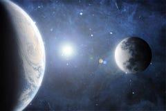 De horizon van Cinematic van Aarde en Maan vector illustratie