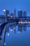 De Horizon van Columbus Ohio bij Zonsopgang Royalty-vrije Stock Foto's