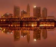 De Horizon van Columbus, Ohio bij Zonsopgang Stock Foto