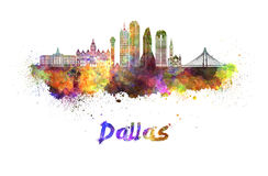 De horizon van Dallas in waterverf stock illustratie