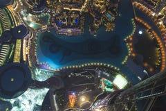 De horizon van de de nachtstad van Doubai met moderne skycrapers, de V.A.E Royalty-vrije Stock Fotografie