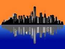 De horizon van de de zonsondergangstad van Chicago Royalty-vrije Stock Afbeelding