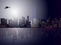De Horizon van de nachtstad. Stock Afbeeldingen