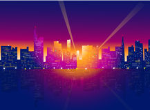 De horizon van de nachtstad Stock Illustratie
